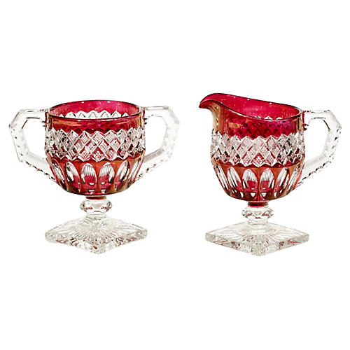 Ruby Flash Glass Sugar & Creamer Set