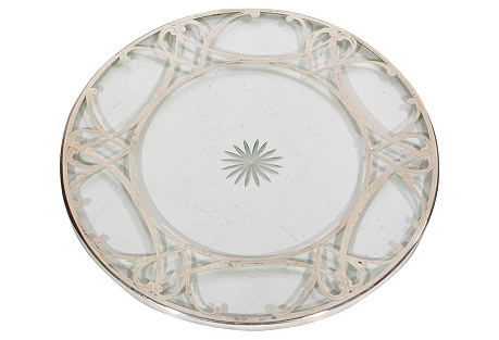 Art Deco Sterling & Glass   Trivet