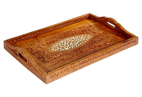 Hand-Carved & Inlaid Floral Tray