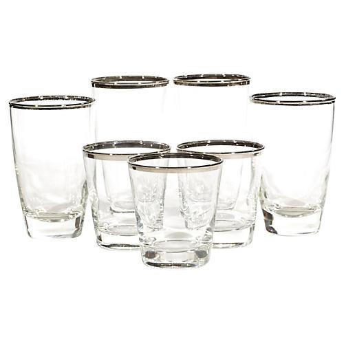 1960s Silver-Rim Glass Tumblers, 7-Pcs