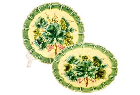 Majolica-Style Plates, Pair