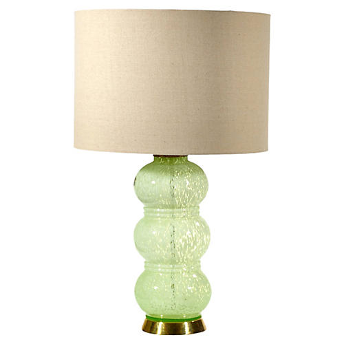 French Green Glass Table Lamp