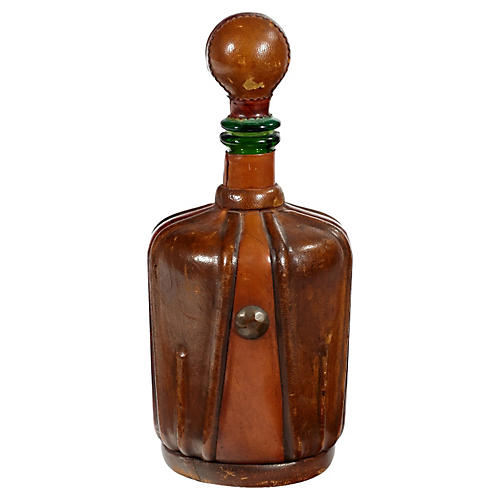 1960s Leather & Glass Decanter