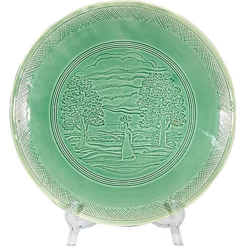 Peasant Woman Green Ceramic Charger