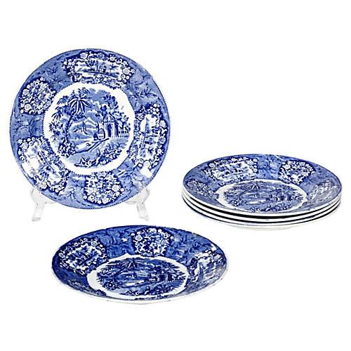 English Flow Blue Oriental Plates, S/6