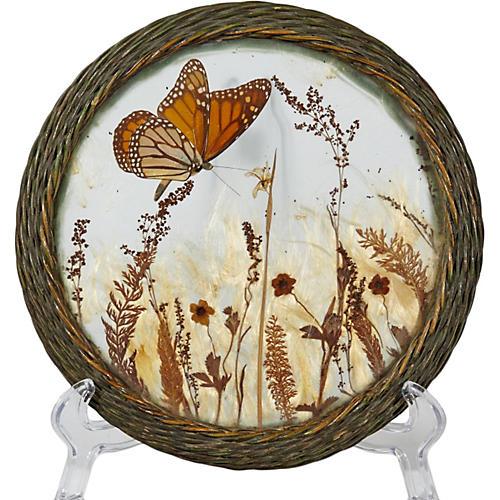 Butterfly & Wicker Round Trivet