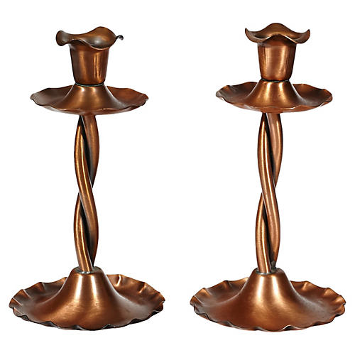 1960s Twisted Copper Candleholders, Pr