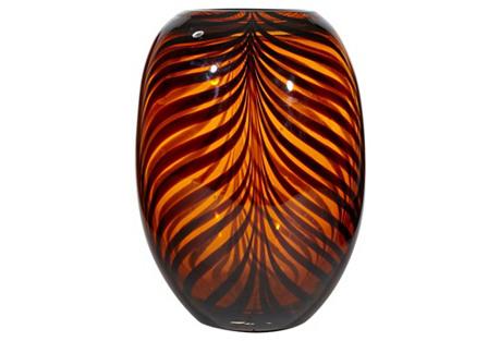 Handblown Black Accented Glass Vase