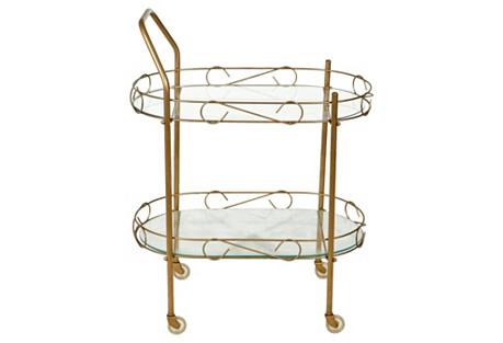 1960s Gilt Metal & Glass Rolling Cart