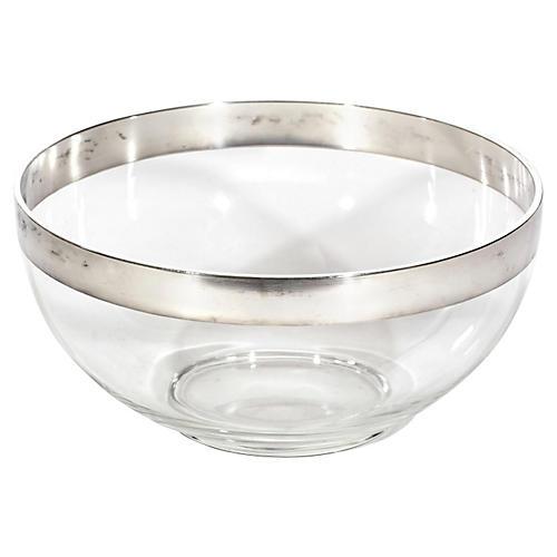 Platinum Banded Glass Serving Bowl