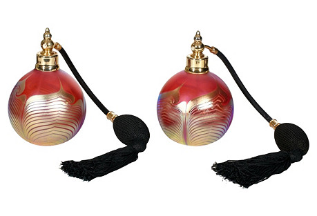 Pulled Feather Art Glass Atomizers, Pair