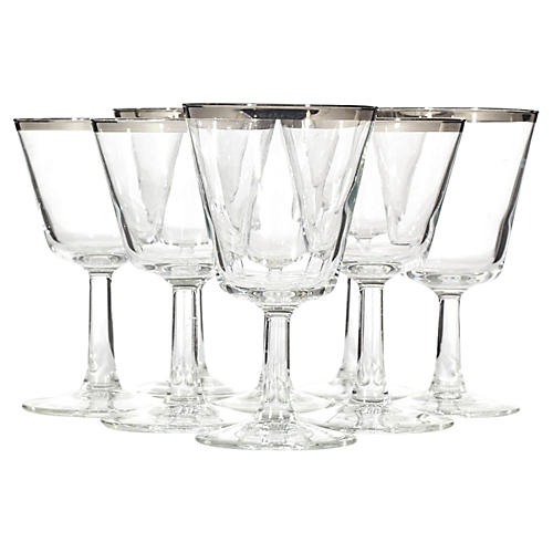 1960s French Silver-Rim Stems, S/8