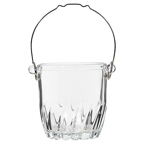 1960s Glass & Metal Handle Ice Bucket