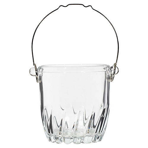 1960s Glass & Metal Handle Ice Bucket