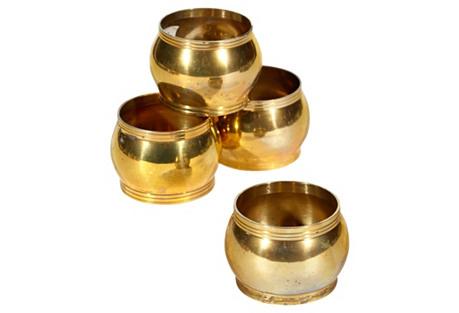 Gilt Metal  Napkin Rings, S/4