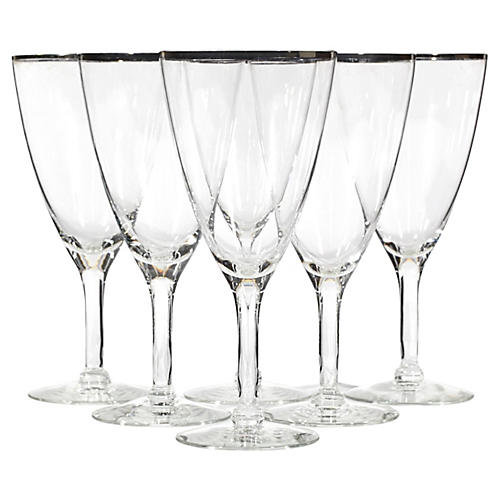 1960s Silver-Rimmed Tall Wines, S/6