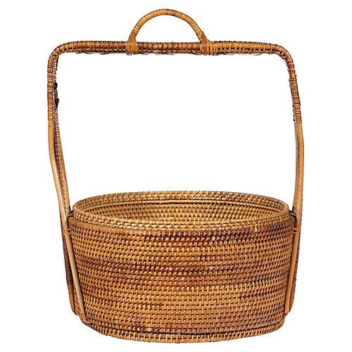 Rustic Handwoven Handled Basket