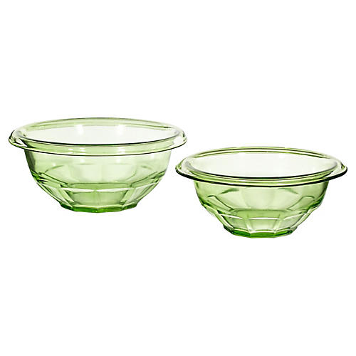 1950s Green Glass Mixing Bowls, Pair