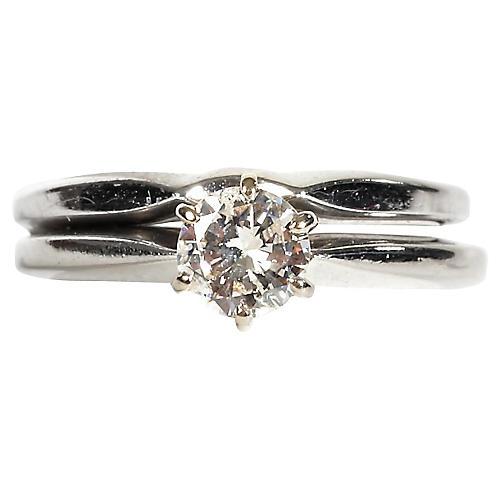 14K White Gold & Diamond Ring Set