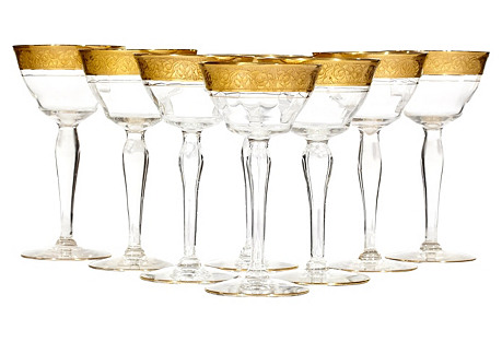 1930s Gilt Floral Rim Small Coupes, S/8