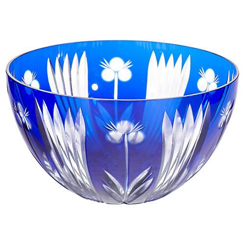 Floral Cobalt Glass Catchall
