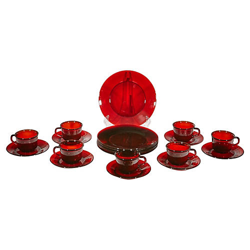 1960s Red French Glass Dinnerware, S/20