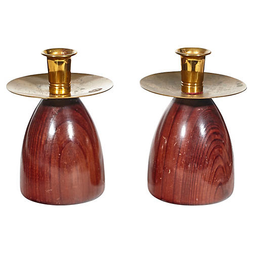 California Redwood Candleholders, Pair