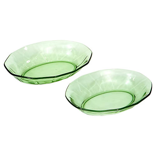 1950s Oval Green Glass Serving Bowls