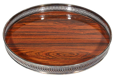 1960s Round Faux-Wood Serving Tray