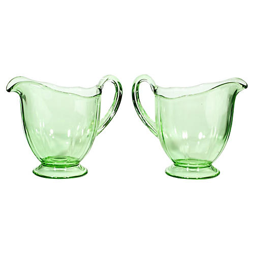 1950s Green Glass Creamers, Pair