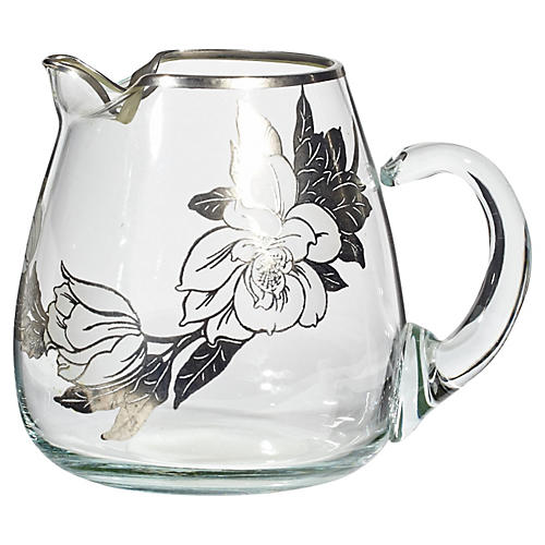 Floral Silver-Overlay Glass Pitcher