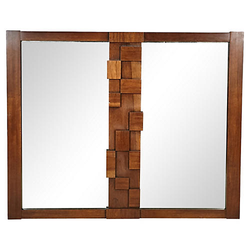 1960s Walnut Wood Block Wall Mirror