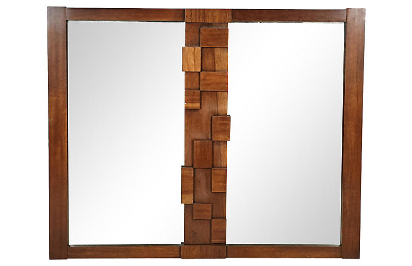 1960s Walnut Wood Block Wall Mirror
