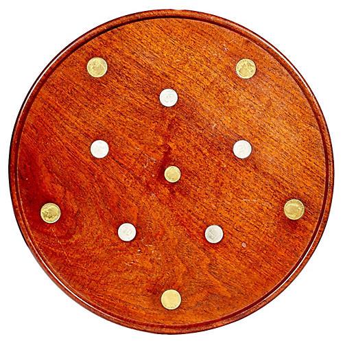 1960s Mahogany & Coin Accented Tray