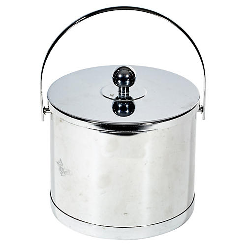 1960s Round Chrome Ice Bucket