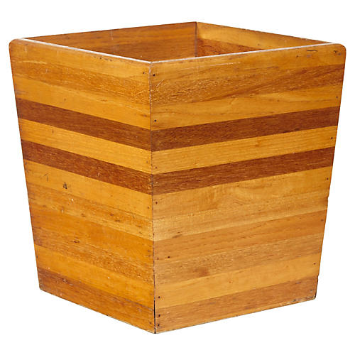 Striped Wood Wastebasket