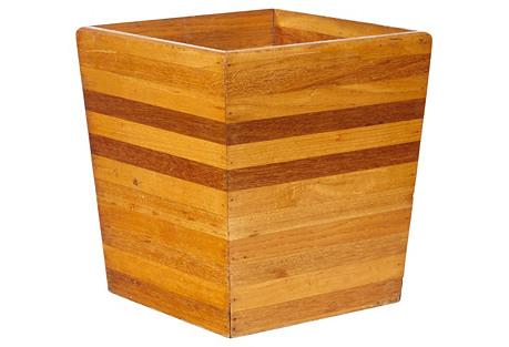 Striped Wood Wastebasket