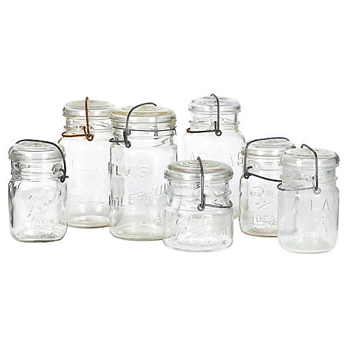 Glass Kitchen Canning Jars, S/7