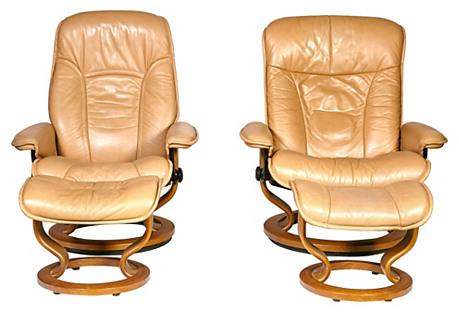 Ekornes Lounge Chairs & Ottomans, 4 Pcs
