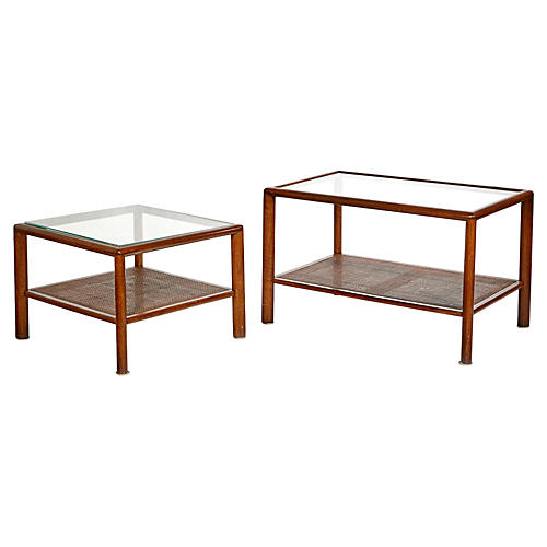 1960s Walnut & Glass-Top Tables, Pair