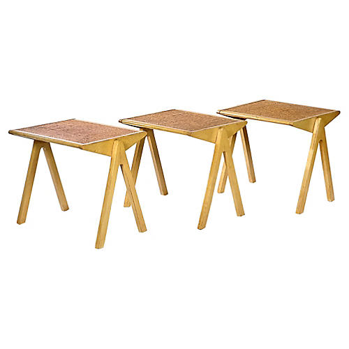 Jon Jansen Cork-Top Stacking Tables, S/3