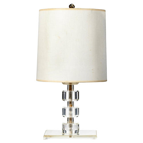 1950s Lucite Round Stacked Table Lamp