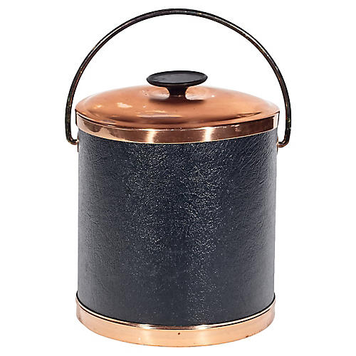 1960s Copper-Accented Ice Bucket, S/2