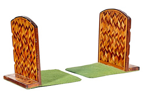Chevron Inlaid Bookends, Pair