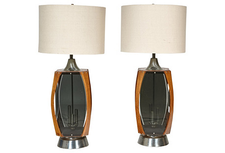 1960s Wood & Smoked Glass Lamps, Pair