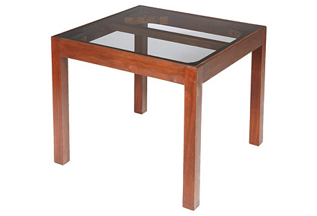 1960s Walnut & Smoked Glass-Top Table
