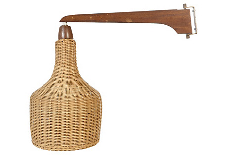 1960s Wall-Mounted Lamp with Wicker