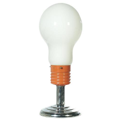 Lightbulb Table Lamp on Chrome Stand
