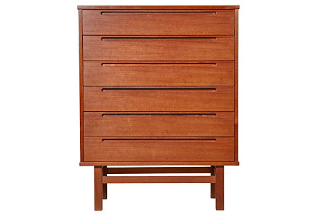 1960s Danish Teak Highboy Dresser
