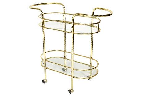 1960s Gilt Metal & Glass Bar Cart